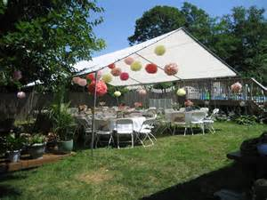 tent for backyard wine themed bridal shower on outdoor bridal