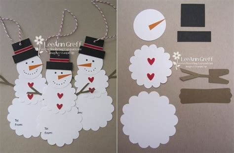 How To Make A Paper Snowman - diy snowman gift tags gift idea beesdiy