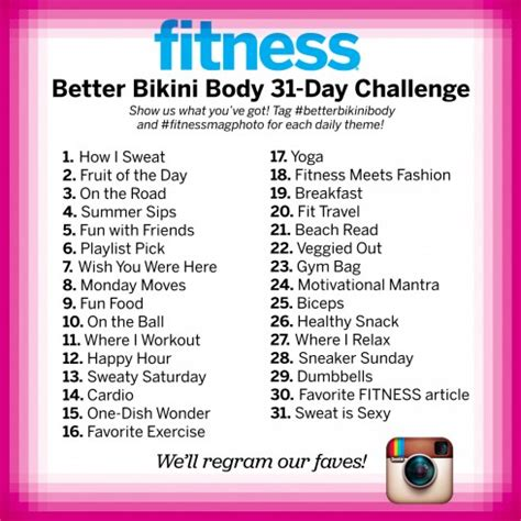 instagram 30 day photo challenge instagram betterbikinibody 31 day challenge fitness