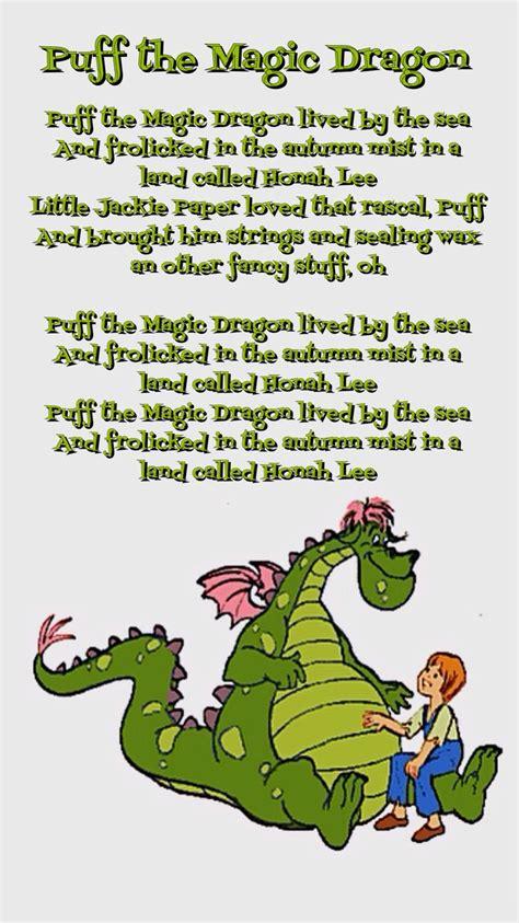 printable lyrics for puff the magic dragon pin by francie shaffer on childhood memories pinterest