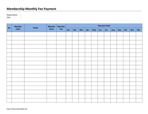 monthly template membership monthly fee payment