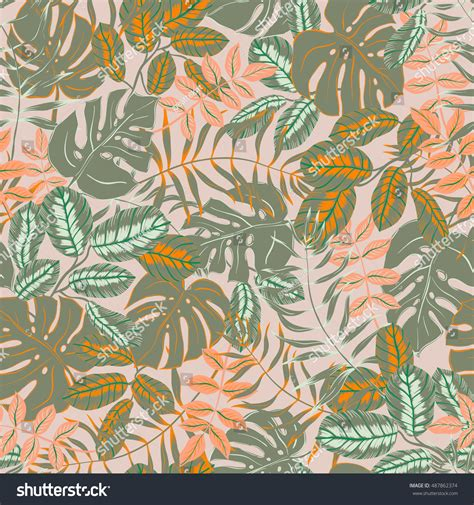 pattern nature colorful vector seamless graphical artistic colorful tropical stock