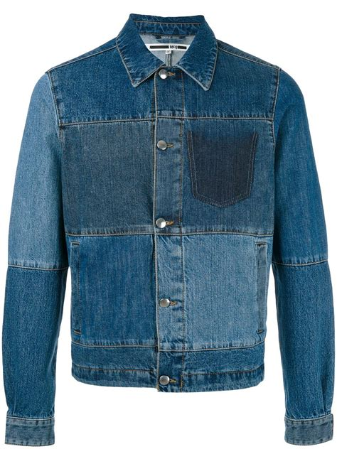 Patchwork Denim Jacket - mcq patchwork denim jacket in blue for lyst