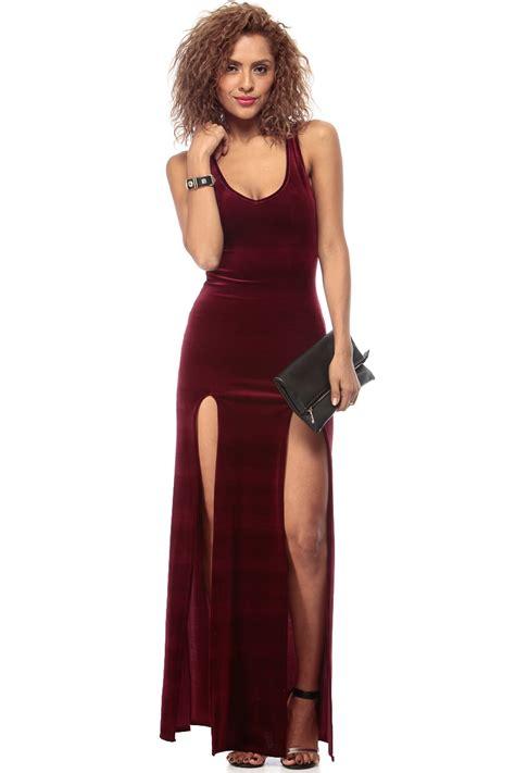 On Sale Ready Velvet Purplepinkred Dress burgundy luxury velvet slit maxi dress cicihot