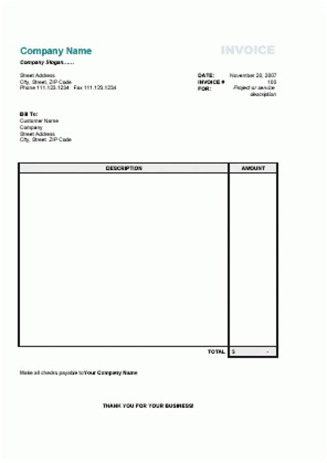 printable simple invoice simple printable invoice template rabitah net