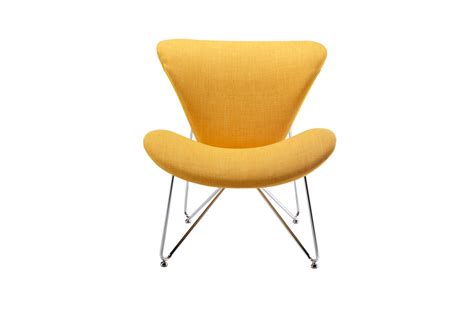 Accent Chairs Yellow by Modrest Decatur Yellow Fabric Accent Chair