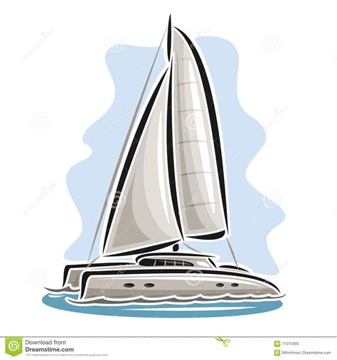 cartoon boat tattoo vector logo sailing catamaran stock vector illustration