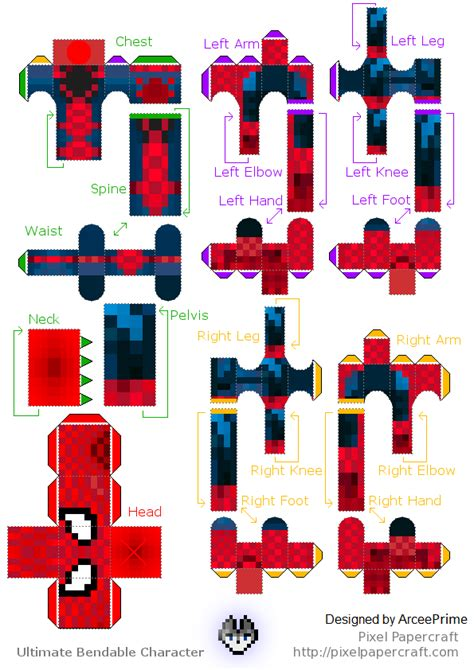spider minecraft skin bendable papercraft by