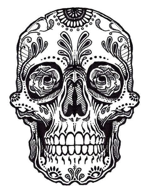 sugar skull tattoo outlines pictures free coloring pages