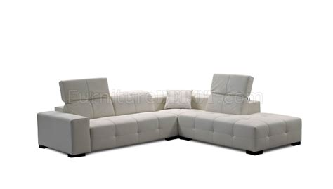Adjustable Sectional Sofa White Italian Leather Modern Sectional Sofa Adjustable Headrest