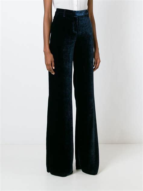 wide leg velvet emilio pucci velvet wide leg trousers in blue lyst