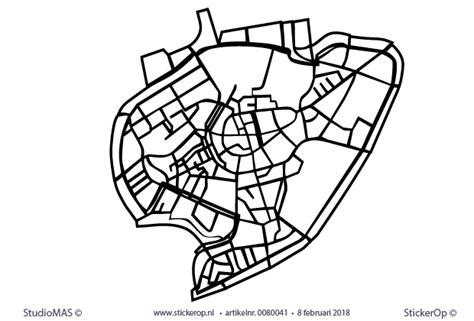 muurstickers plattegrond steden breda