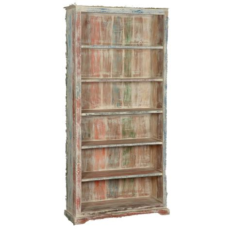 open shelves white washed reclaimed wood 6 shelf 78 5 quot bookcase open