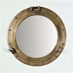 17 Inch Bathroom Vanity Nautical Brass Porthole Mirror Traditional Wall