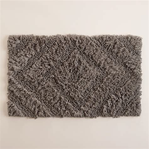 shag bath rug gray hi low shag bath mat world market