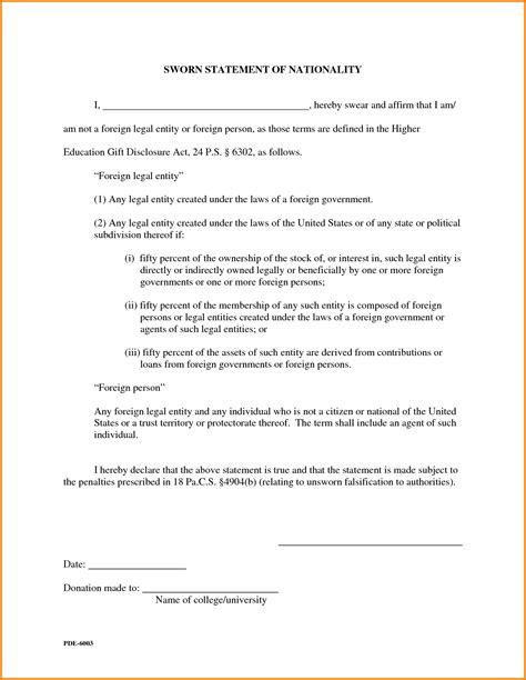 sworn statement exle sworn statement da form 2823