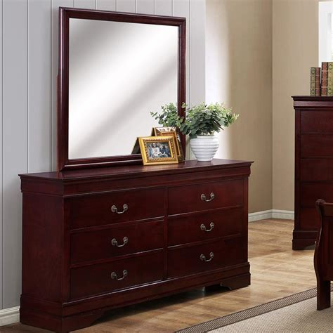 Crown Mark B3800 Louis Phillipe 6 Drawer Dresser With Bedroom Dresser Mirror