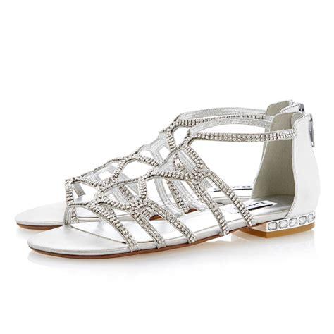 Flat Sandal Pita Silver dune kym caged diamante flat sandals in metallic lyst