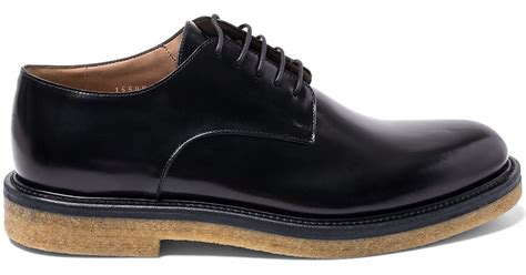 lyst dries noten black crepe sole leather derby shoes in black for