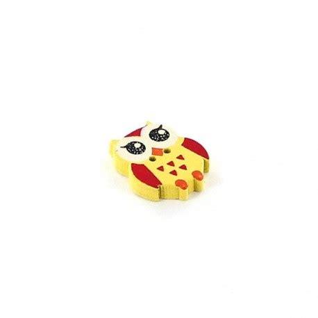Owl Wooden Button wooden button owl yellow ma mercerie