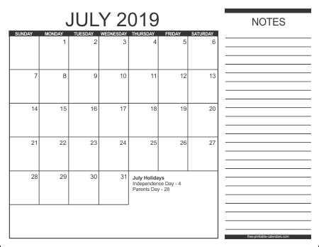 printable monthly calendar with space for notes 2019 free printable calendars free printable calendars