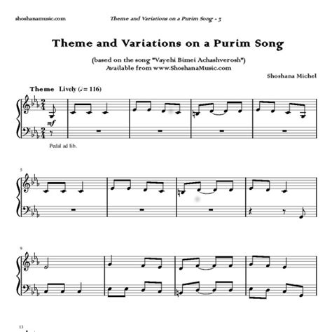 definition theme and variations in music theme and variations on a purim song shoshana michel