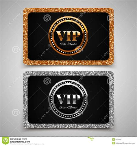 gold  silver vip premium member cards  glitter stock vector image