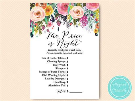 printable price is right bridal shower game floral shabby chic garden bridal shower games magical