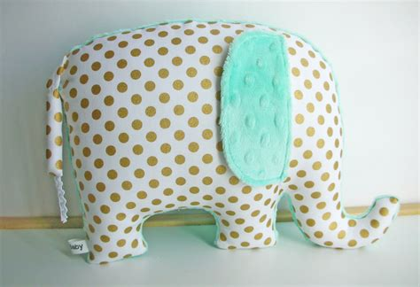 Mint Green Nursery Decor Mint Green Nursery Decor Elephant Pillow Metallic Gold And