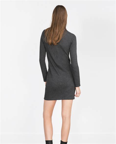 grey knit dress zara knit dress in gray lyst