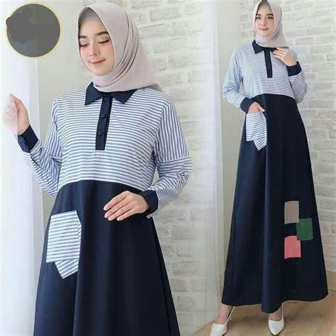 gamis remaja terbaru isyana maxi navy model baju gamis