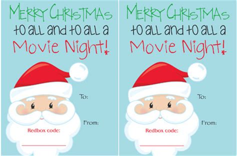 Printable Redbox Gift Cards - tame gifts that you can buy on your way to a white elephant party