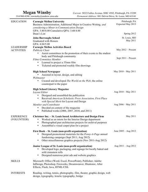 Resume Exles Current Original Resume Meganwinsby