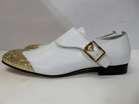versace mens leather dress shoes formal oxford white gold