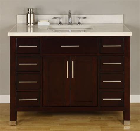 42 Inch Single Sink Modern Dark Cherry Bathroom Vanity 42 Inch Bathroom Cabinet