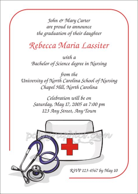 nursing graduation invitation templates cap card details