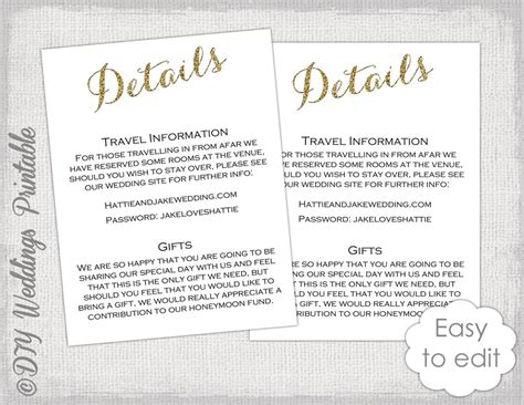 Enclosure Cards Details For Wedding Free Template by Wedding Enclosure Template Diy Calligraphy Gold