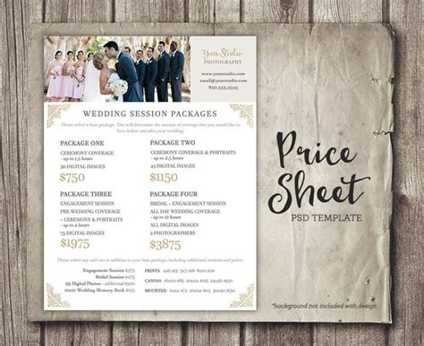 Wedding Photography Price Sheet Price List Template Wedding Photography Price List Template Free