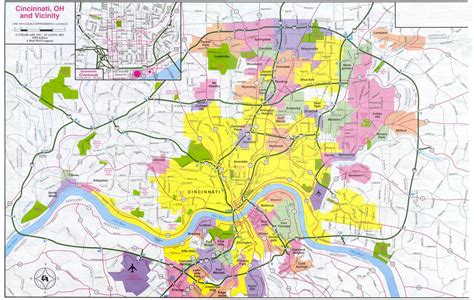 map of cincinnati cincinnati map free printable maps