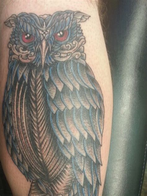 owl tattoo on leg calf by alex gallo 201 best images about owls tattoo on pinterest colorful