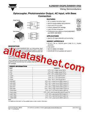 transistor datasheet vishay ild252 datasheet pdf vishay siliconix