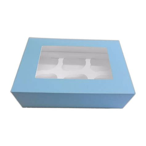 cupcake window boxes baby blue 6 cupcake window box with inserts