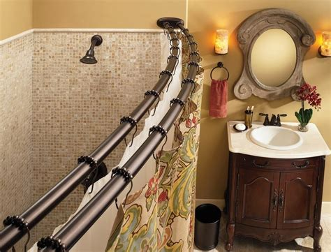 Bathroom Shower Rod Moen Dn2141ch Adjustable Curved Shower Rod Chrome Home Improvement