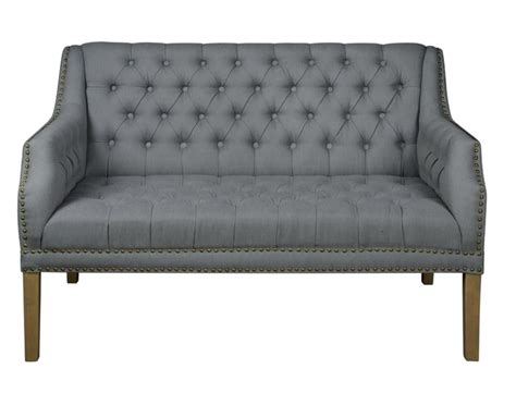 Linen Tufted Settee Gray Tufted Linen Fabric Settee With Nail Trim