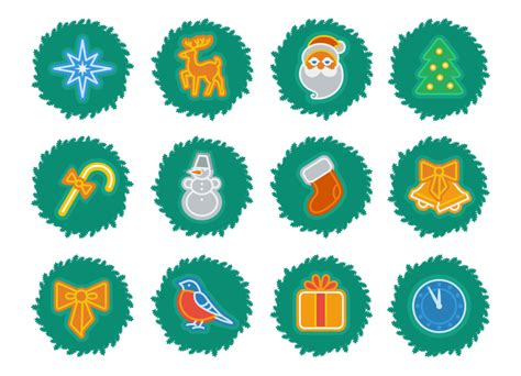 Holiday Gifts For Clients Iconka Graphic Design Illustration Animation Lettering Xmas Wreath Set
