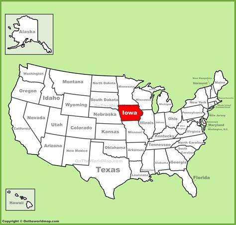 iowa state in usa map iowa location on the u s map