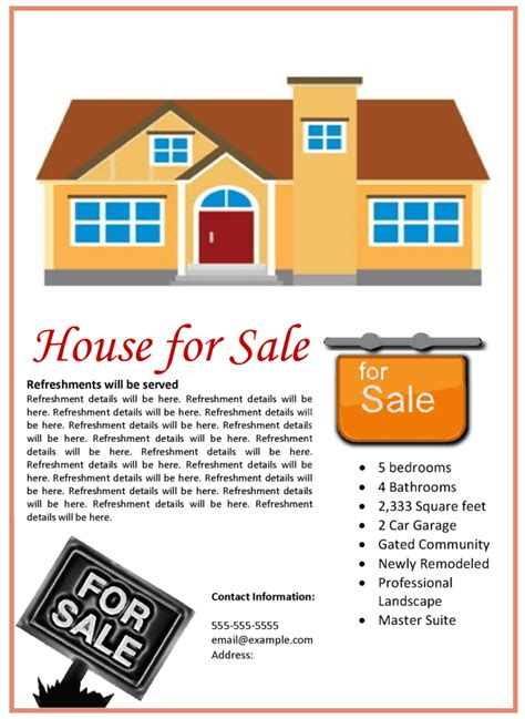 House For Sale Flyer Template House For Sale Ad Template
