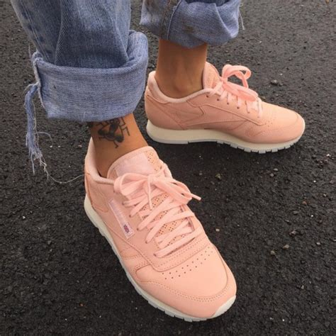 shoes reebok classic light pink pastel pink