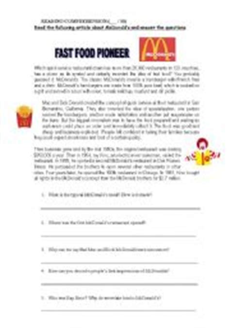 reading comprehension test about food reading comprehension pre intermediate text english