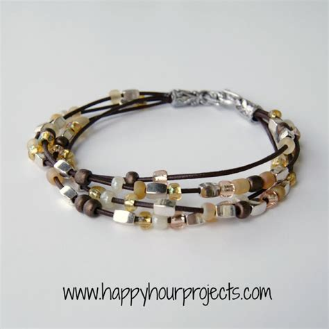 how to make leather cord jewelry bead leather bracelet happy hour projects